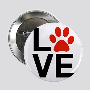 """Love Dogs / Cats Pawprints 2.25"""" Button"""