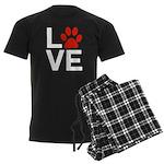 Love Dogs / Cats Pawprints Men's Dark Pajamas