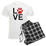 Love Dogs / Cats Pawprints Men's Light Pajamas