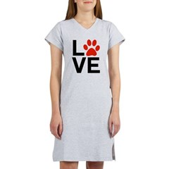Love Dogs / Cats Pawprints Women's Nightshirt