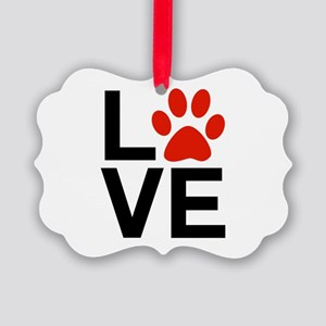 Love Dogs / Cats Pawprints Picture Ornament