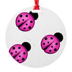 Pink Black Ladybugs Ornament