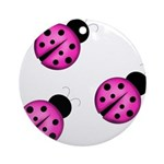 Pink Black Ladybugs Ornament (Round)