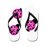 Pink Black Ladybugs Flip Flops
