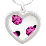 Pink Black Ladybugs Necklaces
