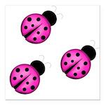 Pink Black Ladybugs Square Car Magnet 3