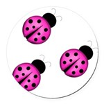 Pink Black Ladybugs Round Car Magnet