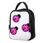 Pink Black Ladybugs Neoprene Lunch Bag