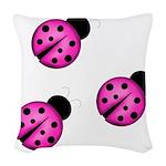 Pink Black Ladybugs Woven Throw Pillow