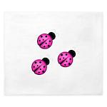 Pink Black Ladybugs King Duvet