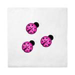Pink Black Ladybugs Queen Duvet