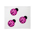 Pink Black Ladybugs Throw Blanket