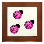 Pink Black Ladybugs Framed Tile
