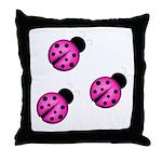 Pink Black Ladybugs Throw Pillow