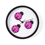 Pink Black Ladybugs Wall Clock