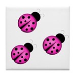 Pink Black Ladybugs Tile Coaster
