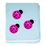 Pink Black Ladybugs baby blanket