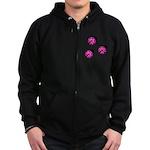 Pink Black Ladybugs Zip Hoodie