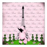 Vintage Pink Paris Square Car Magnet 3