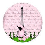 Vintage Pink Paris Round Car Magnet
