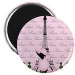 Vintage Pink Paris Magnets