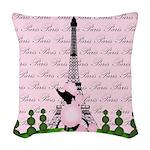 Vintage Pink Paris Woven Throw Pillow