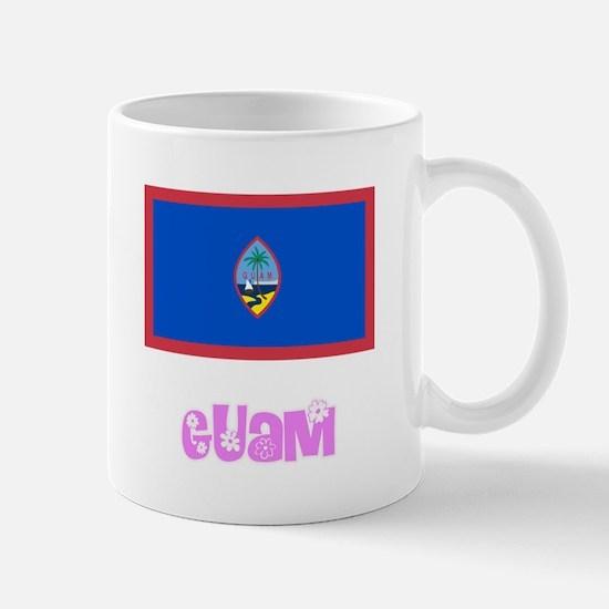 Guam Flag Pink Flower Design Mugs