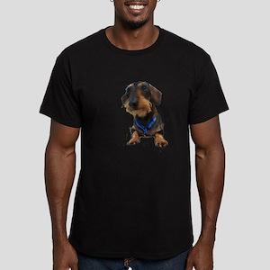 Wirehair Dachshund Men's Fitted T-Shirt (dark)