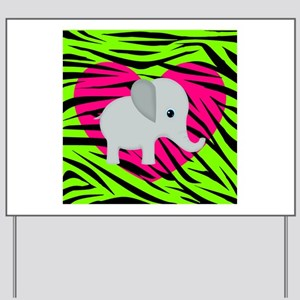 Pink Green Elephant Yard Sign