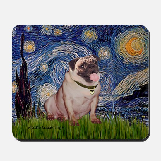 Starry Night and Pug Mousepad