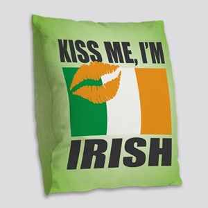 Kiss Me I'm Irish Burlap Throw Pillow