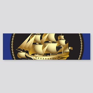 Golden Ship Bumper Sticker