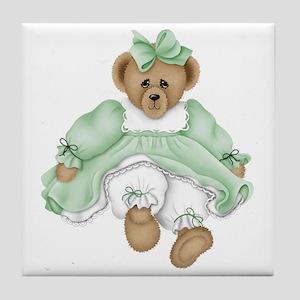 BEAR - GREEN DRESS Tile Coaster