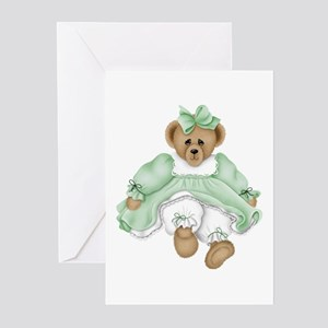 BEAR - GREEN DRESS Greeting Cards (Pk of 10)