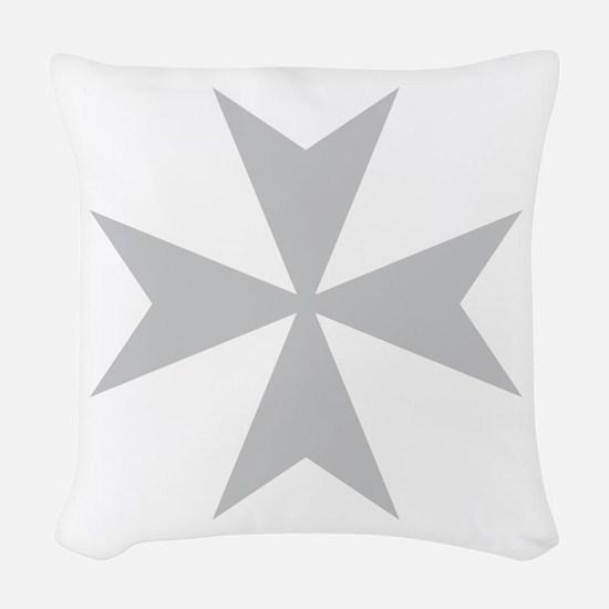 Silver Maltese Cross Woven Throw Pillow