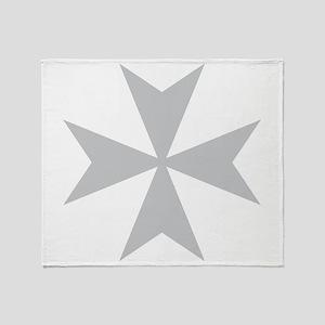 Silver Maltese Cross Throw Blanket