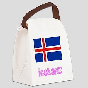 Iceland Flag Pink Flower Design Canvas Lunch Bag