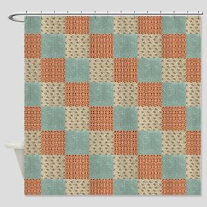 Floral Patchwork Pattern Shower Curtain