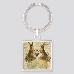 Vintage French Easter bunnies Keychains