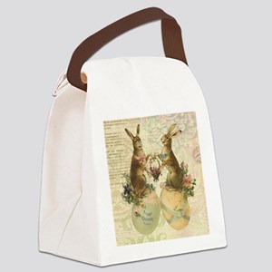 Vintage French Easter bunnies Canvas Lunch Bag