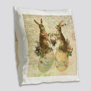 Vintage French Easter bunnies Burlap Throw Pillow