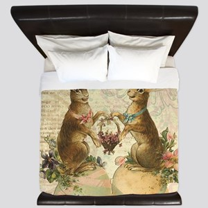 Vintage French Easter bunnies King Duvet
