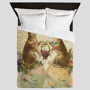 Vintage French Easter bunnies Queen Duvet