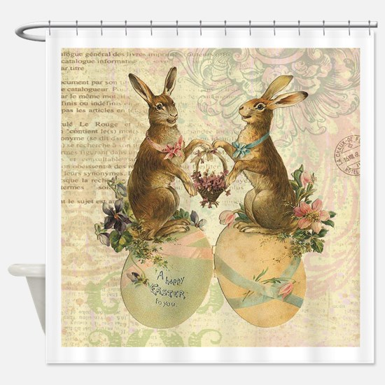 Vintage French Easter bunnies Shower Curtain