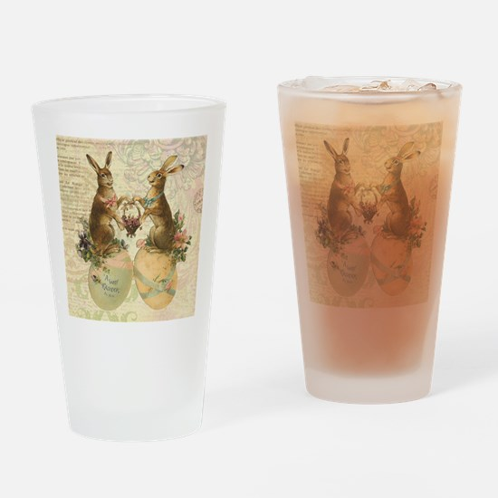 Vintage French Easter bunnies Drinking Glass