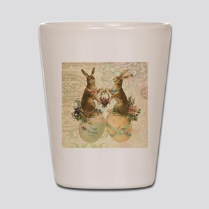 Vintage French Easter bunnies Shot Glass