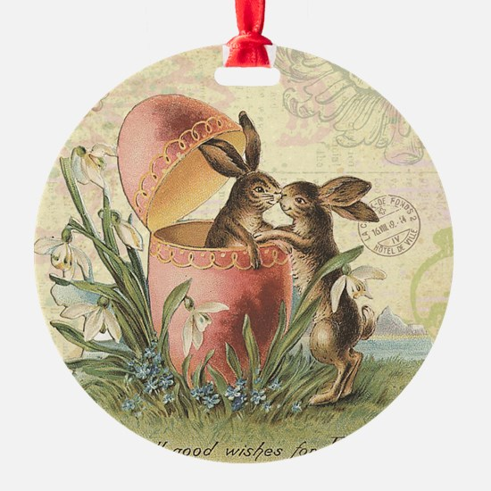 Vintage French Easter bunnies in egg Ornament