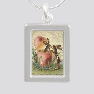 Vintage French Easter bunnies in egg Necklaces