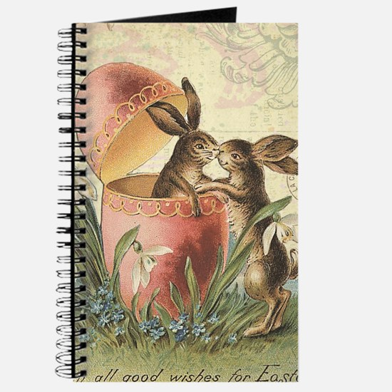 Vintage French Easter bunnies in egg Journal