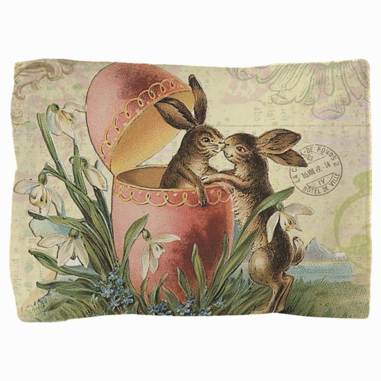Vintage French Easter bunnies in egg Pillow Sham